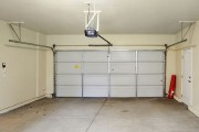a garage door interior, showing an electric garage door opener