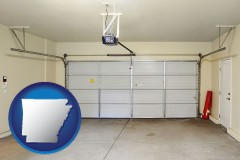 arkansas map icon and a garage door interior, showing an electric garage door opener