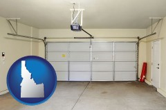idaho map icon and a garage door interior, showing an electric garage door opener
