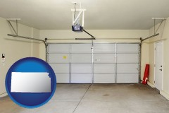 kansas map icon and a garage door interior, showing an electric garage door opener