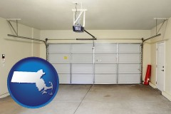 massachusetts map icon and a garage door interior, showing an electric garage door opener
