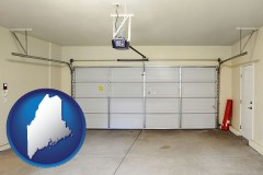 maine map icon and a garage door interior, showing an electric garage door opener