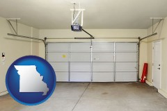 missouri map icon and a garage door interior, showing an electric garage door opener