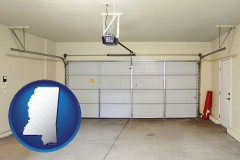 mississippi map icon and a garage door interior, showing an electric garage door opener