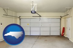 north-carolina map icon and a garage door interior, showing an electric garage door opener