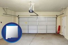 new-mexico map icon and a garage door interior, showing an electric garage door opener