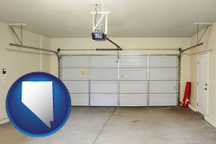 nevada map icon and a garage door interior, showing an electric garage door opener