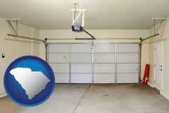 south-carolina map icon and a garage door interior, showing an electric garage door opener