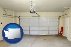 washington map icon and a garage door interior, showing an electric garage door opener