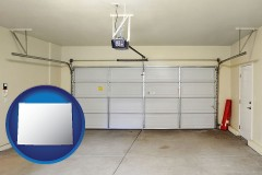 wyoming map icon and a garage door interior, showing an electric garage door opener