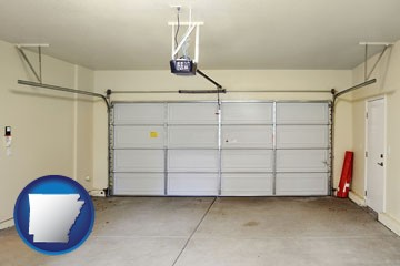 a garage door interior, showing an electric garage door opener - with Arkansas icon
