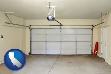 a garage door interior, showing an electric garage door opener - with California icon