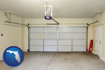 a garage door interior, showing an electric garage door opener - with Florida icon