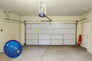 a garage door interior, showing an electric garage door opener - with Hawaii icon