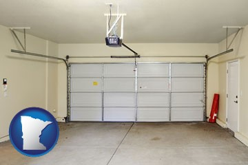 a garage door interior, showing an electric garage door opener - with Minnesota icon