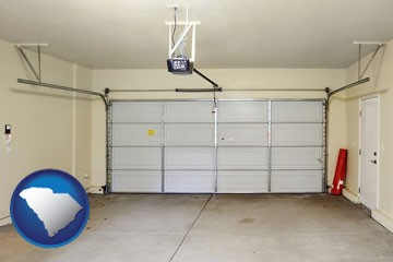 a garage door interior, showing an electric garage door opener - with South Carolina icon