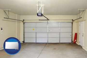 a garage door interior, showing an electric garage door opener - with South Dakota icon