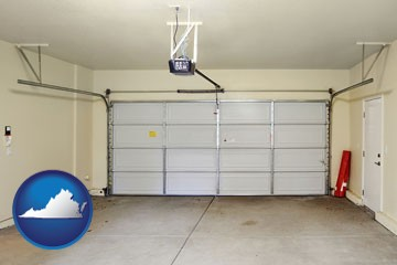a garage door interior, showing an electric garage door opener - with Virginia icon